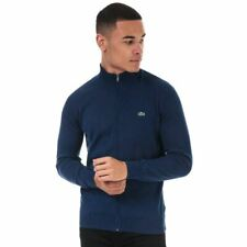 Men's Lacoste Stand-Up Collar Full Zip Cotton Cardigan in Blue
