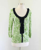 Tabitha Anthropologie Forest Whimsy Cardigan Sweater Size M Green Floral Ruffle
