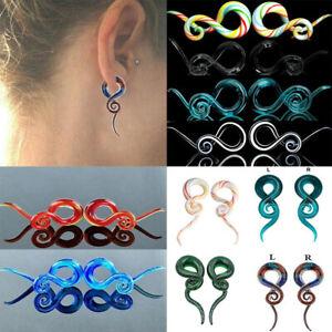 Pair Snail Spiral Glass Hook Ear Taper Ear Plug Flesh Tunnel Earrings Expander