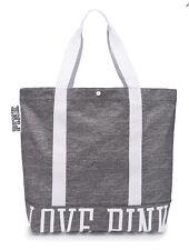 VICTORIA'S SECRET PINK TOTE BAG SNAP BUTTON CLOSURE GREY MARL WHITE - NWT!!!