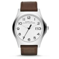New Marc By Marc Jacobs Jimmy White Dial Brown Leather Men's Watch MBM5045