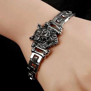 Silver Tone Fenrir Wolf Head Chain Link 19cm Bracelet