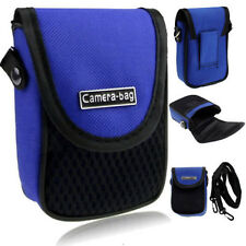 Compact Camera Case Universal Soft Bag Pouch + Strap Blue