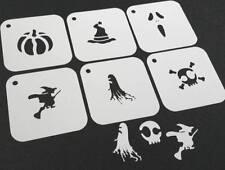 #2 Set di 6pcs Halloween Riutilizzabile Stencil Strega Scopa GATTO FANTASMA CAPPELLO FACCIA VERNICE