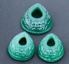 130 Cts Green Onyx Fine Carved Loose Stone 3-Pc Set=46X34X12MM-1Pc=33x25x12mm-2p