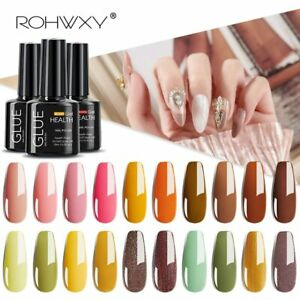 ROHWXY UV LED Soak Off Nail Gel Polish Salon Professional Colors Top Coat 10ml