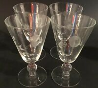 VINTAGE ROSE JAVIT ETCHED STEMWARE SET OF 4 ROSES 10 OZ WATER GLASS 6 1/4""
