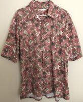 Campia Moda Short Sleeve Shirt Mens Red Floral Aloha Hawaiian Size X-Large