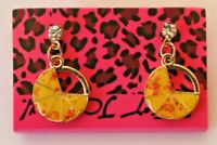 Betsey Johnson Crystal Rhinestone Enamel Pizza Post Earrings