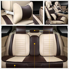 Coffee 5-Seats Car PU Leather Seat Cover w/Pillows For Auto Interior Accessories