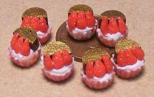 1:12 SCALA 7 FRAGOLA Cup Cakes CASA delle Bambole Miniature pasticceria cake food pl9