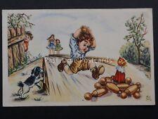 Ten Pin Bowling / Skittles Theme CHILDREN PLAYING IN STREET - Old Postcard