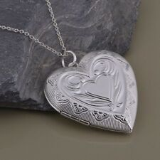 Heart Photo Locket Pendant Open Double Love Ladies 925 Sterling Silver Stylish