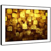 AB1013 Yellow Brown   Modern Retro Abstract Framed Wall Art Large Picture Prints