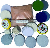 Glass Polishing Kit for Deep  Scratch ,8 OZ Powder  and Sanding Discs