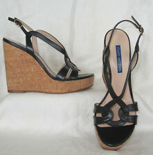 STUART WEITZMAN Black Platform Wedge Sandal Shoes Size 7