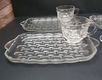 Vintage Fedral Glass Company Yorktown Snack Set 4 Cups & Snack Plates