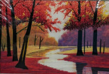 Oriental Silk Thread Embroidered Scenic Picture - Red Fall Foliage Landscape