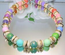KETTE Perlen Glas marmoriert glanz Rondelle Metall Holz pastell multicolor  469h