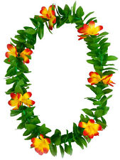 Hoja Verde leis hawaianos Garland Naranja Flores Hula Hawaii Fancy Dress Collar