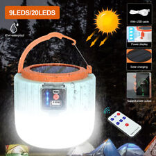 USB & Solar LED Portable Light Rechargeable Lantern Outdoor Camping Hiking Lamp