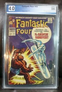 Marvel Fantastic Four #55 PGX Graded 4.0 Silver Surfer 12c Cover Off White to Wh
