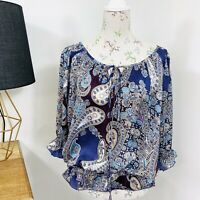 Target Womens Top Blouse Boho Paisley Purple Satin Fluted Sleeve Size 12