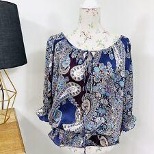 Target Womens Top Blouse Boho Paisley Purple Satin Fluted Sleeve Size 12