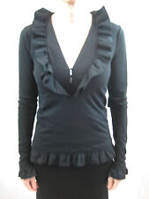 Wolford Size M or 12 Wool Blend Black Frill Blouse