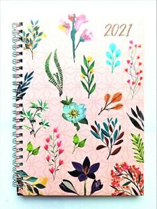2021 A5 Week to View Spiral Bound Diary Hardback Wiro Cover Office School-Flower