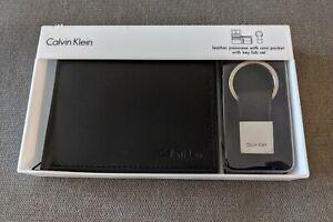 Original Calvin Klein Leather Passcase / Wallet With Key Fob Set