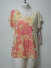 Woman Top Ruby Rd. Medium Short Sleeve Must Haves Crew Neck Casual Off White