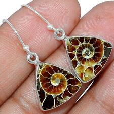 """Fossil"" Ammonite 925 Sterling Silver Earrings Jewelry AE164089"