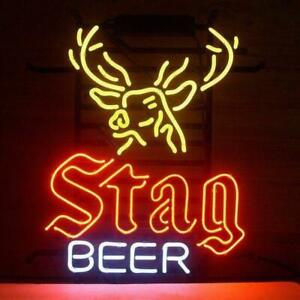 Busch Stag Beer Deer Moose Welcome Hunters Real Neon Sign Bar Light Home Decor