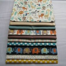 FQ Boy girl Baby jungle elephants spots stripe animals teal fabrics by Makower