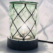 SCENTSY Warmer Bubble Glass Lantern Nautical Lamp Style Faux Wood Grain Base