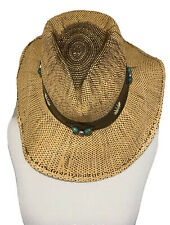 Raffia Women's Embellished Wood Beads Painted Turquoise Hat      M       New