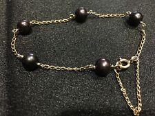 9K Yellow Gold & Black Tahitian Pearl Bracelet, 5.3grams