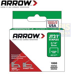 5000 x Arrow staples JT21 T27 8mm 5/16in ARRJT21516 5 x 1000