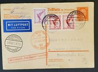 1929 Germany LZ 127 Graf Zeppelin Frankfurt Flight Postcard Air Mail Cover