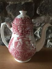 Vintage Royal Tudor Ware Coffee Pot, Red Pattern