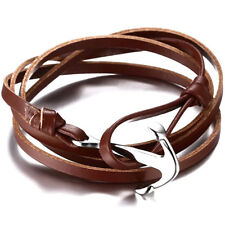 Brown Men & Women Bracelet Leather Stainless Steel Anchor Fashion Multi-layer