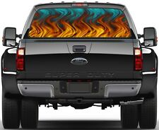 Aqua Flame Rear Window Graphic Decal for Truck SUV Vans
