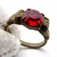 Tardo-medievale Anello con pietra rossa/GEM-RARE ARTEFATTO storico indossabile-J508