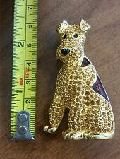 SWAROVSKI CRYSTAL SIGNED DOG PIN BROOCH 22KT GOLD PLATED RETIRED