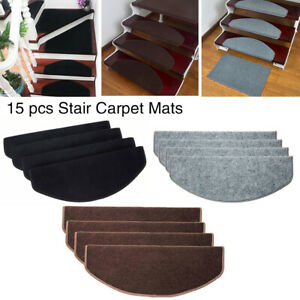 UK 15PCS Carpet Stair Treads Mats Floor Non Slip Protection Cover Step Staircase