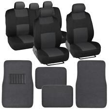 Charcoal & Black Seat Cover Set Split Bench Solid Charcoal Vinyl Trim Floor Mat