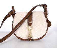 MICHAEL KORS Dark Caramel Leather Fur Jamie Medium Saddle Bag HANDBAG New