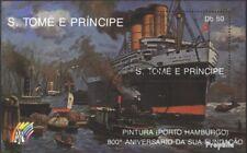 Sao Tome e Principe Block 201 gestempeld 1989 Navigatie Hamburger Port
