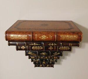 MAITLAND SMITH FAUX STACKED LEATHER BOUND BOOKS WALL SHELF BRACKET $750+ value